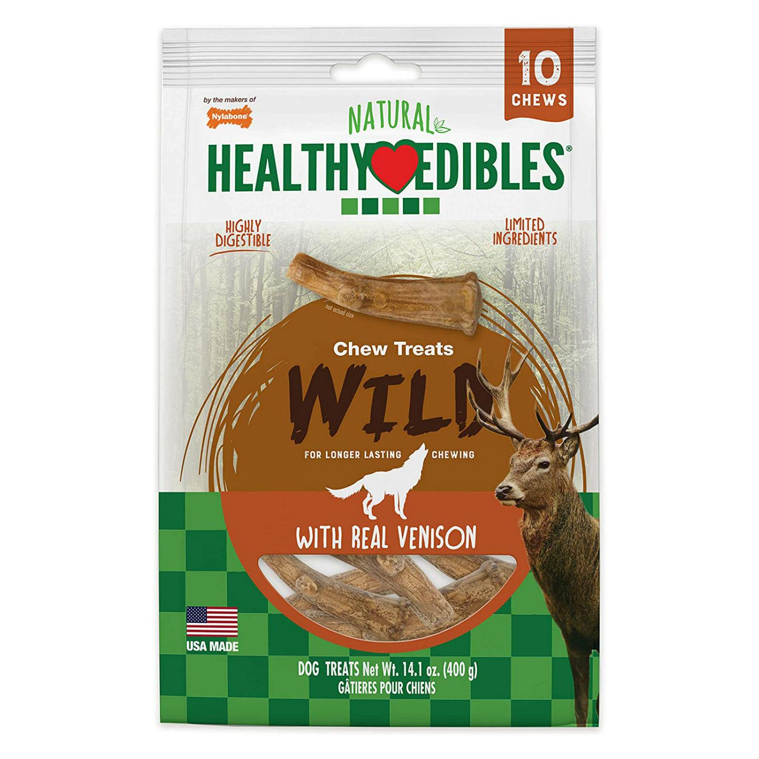 Nylabone Healthy Edibles Antler Chew Dog Treat -  Venison Flavor