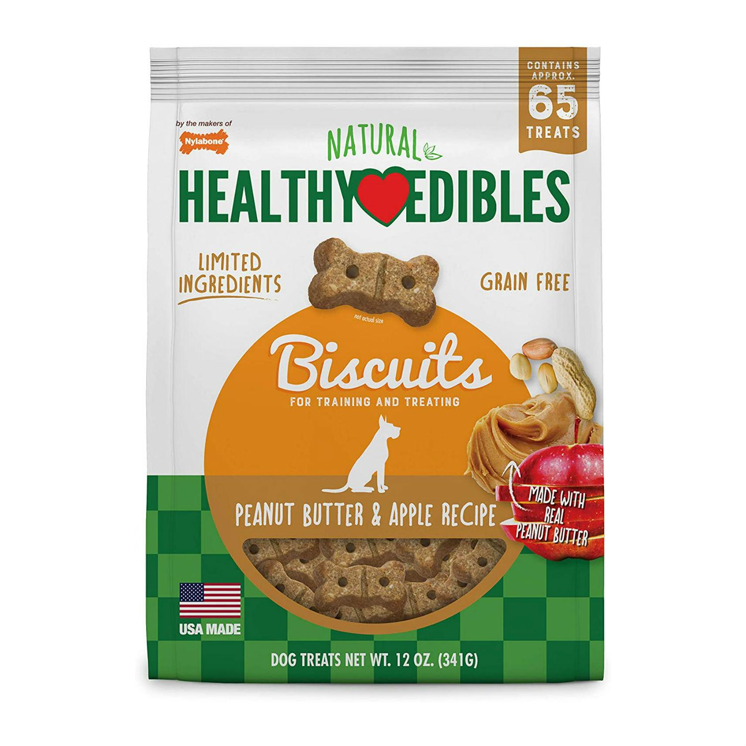 Nylabone Healthy Edibles Biscuits Grain Free Dog Treats - Peanut Butter & Apple