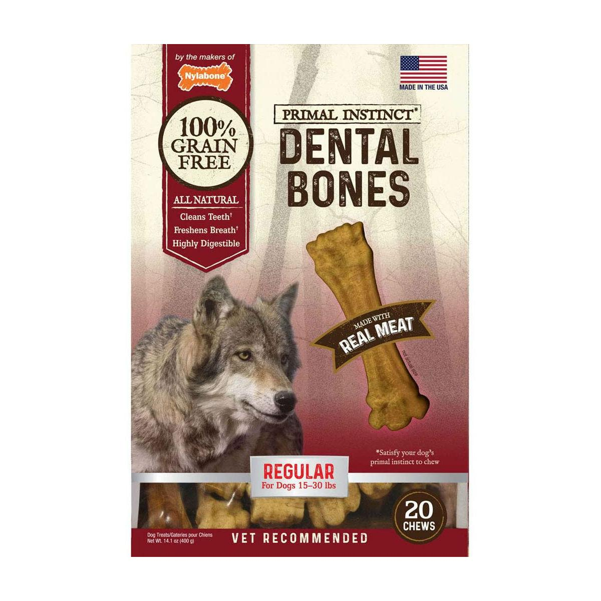 Nylabone Primal Instinct Real Meat Dental Bone Dog Treats - Regular