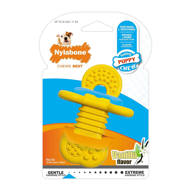 Nylabone Puppy Rubber Teether Chew Dog Toy - Vanilla