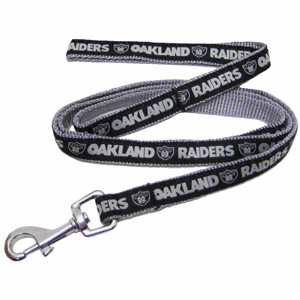 Oakland Raiders Officially Licensed Dog Leash - Silver Trim