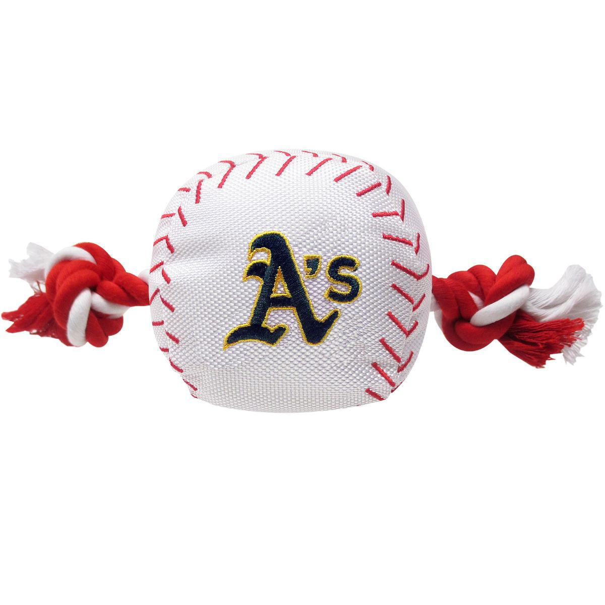 Oakland Athletics Nylon Plush Baseball Rope Dog Toy