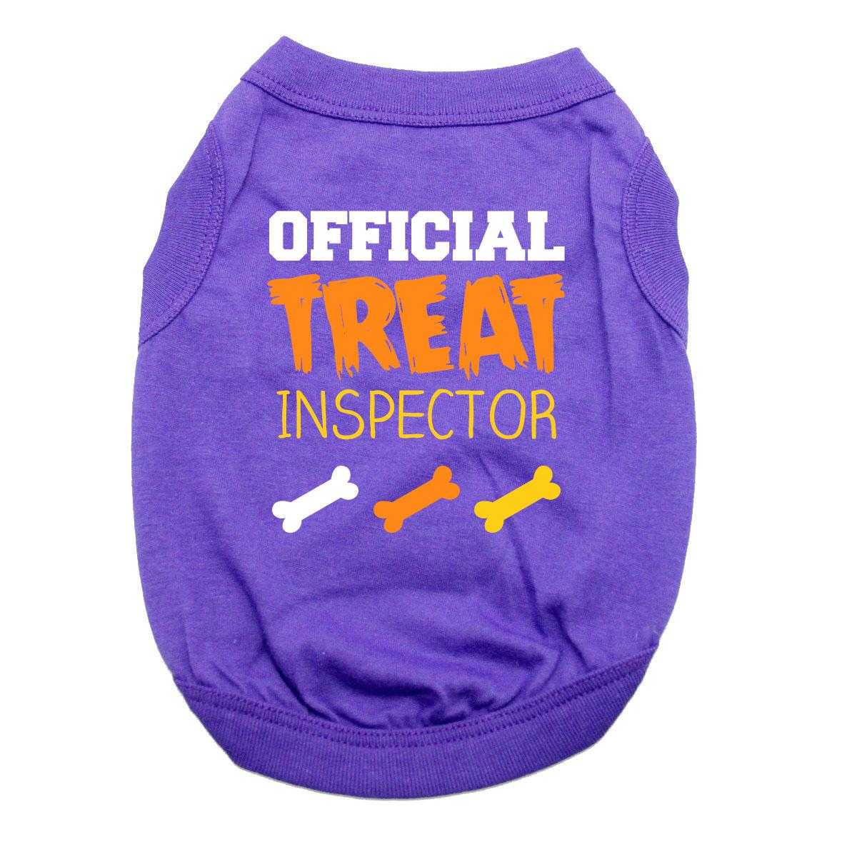 Official Treat Inspector Halloween Dog Shirt - Purple