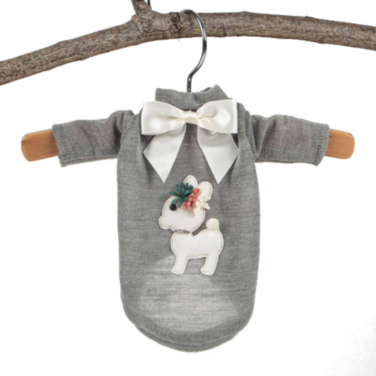 Hello Doggie Baby Deer Dog Sweater - Gray