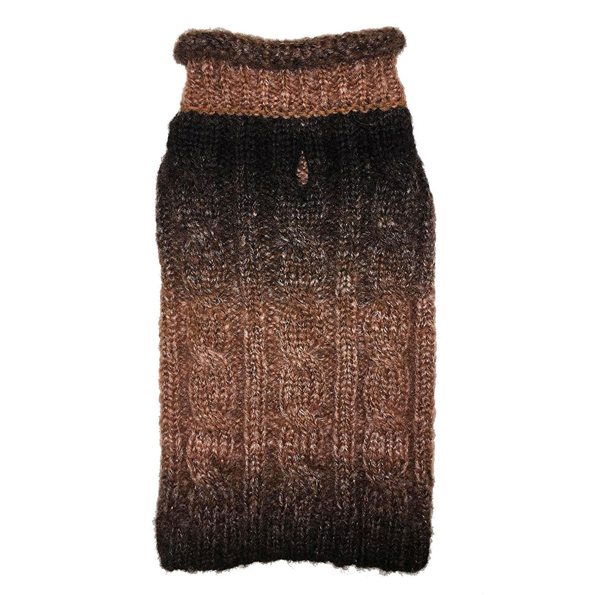 Ombre Rollneck Dog Sweater by fabdog® - Brown