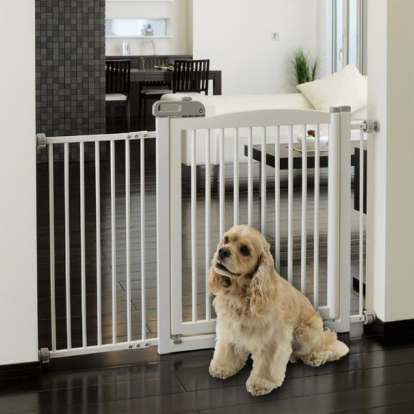One-Touch Wood Pet Gate - Origami White