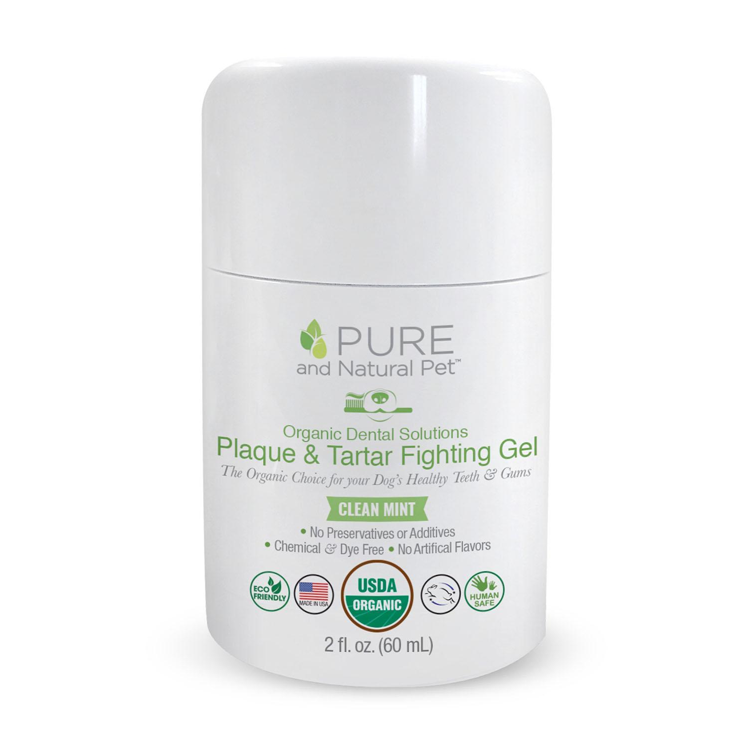 Pure and Natural Pet Organic Dental Solutions Plaque & Tartar Fighting Gel for Dogs
