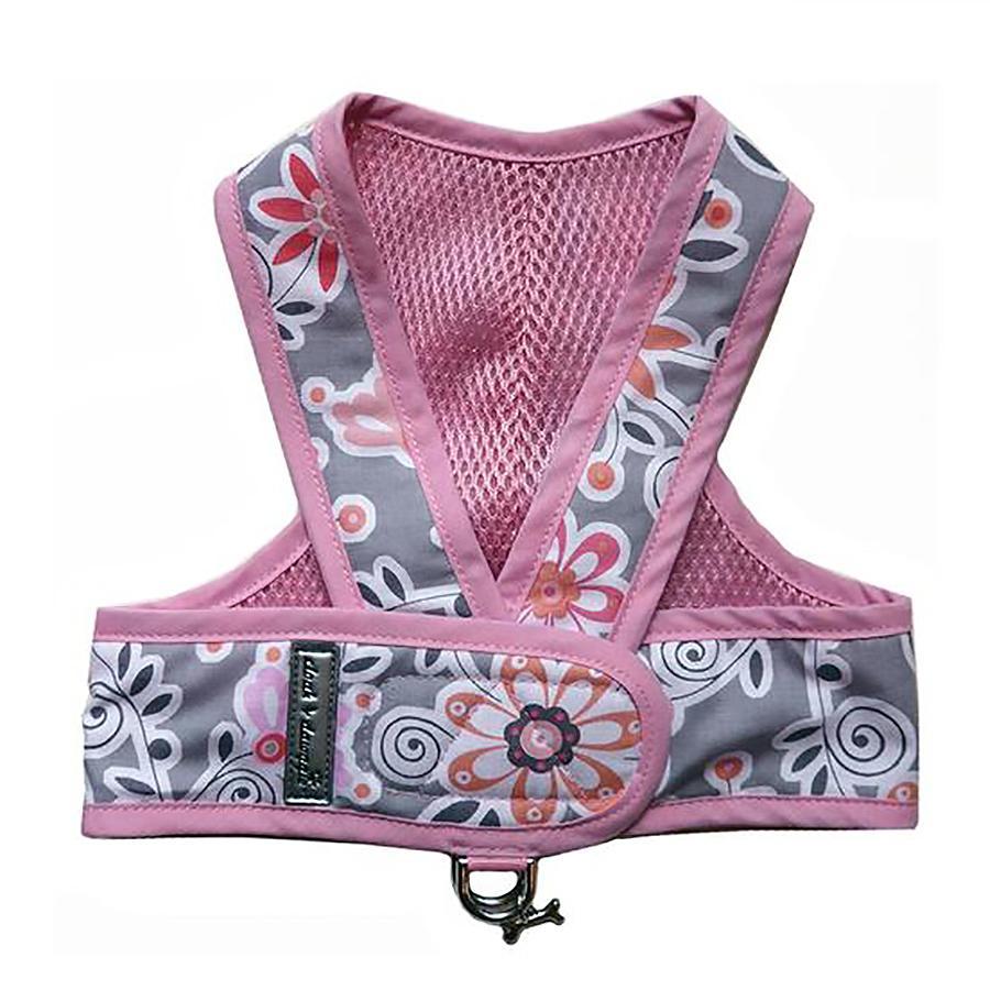 Original Cloak & Dawggie Step-N-Go Mesh Lined Dog Harness - Pink Floral