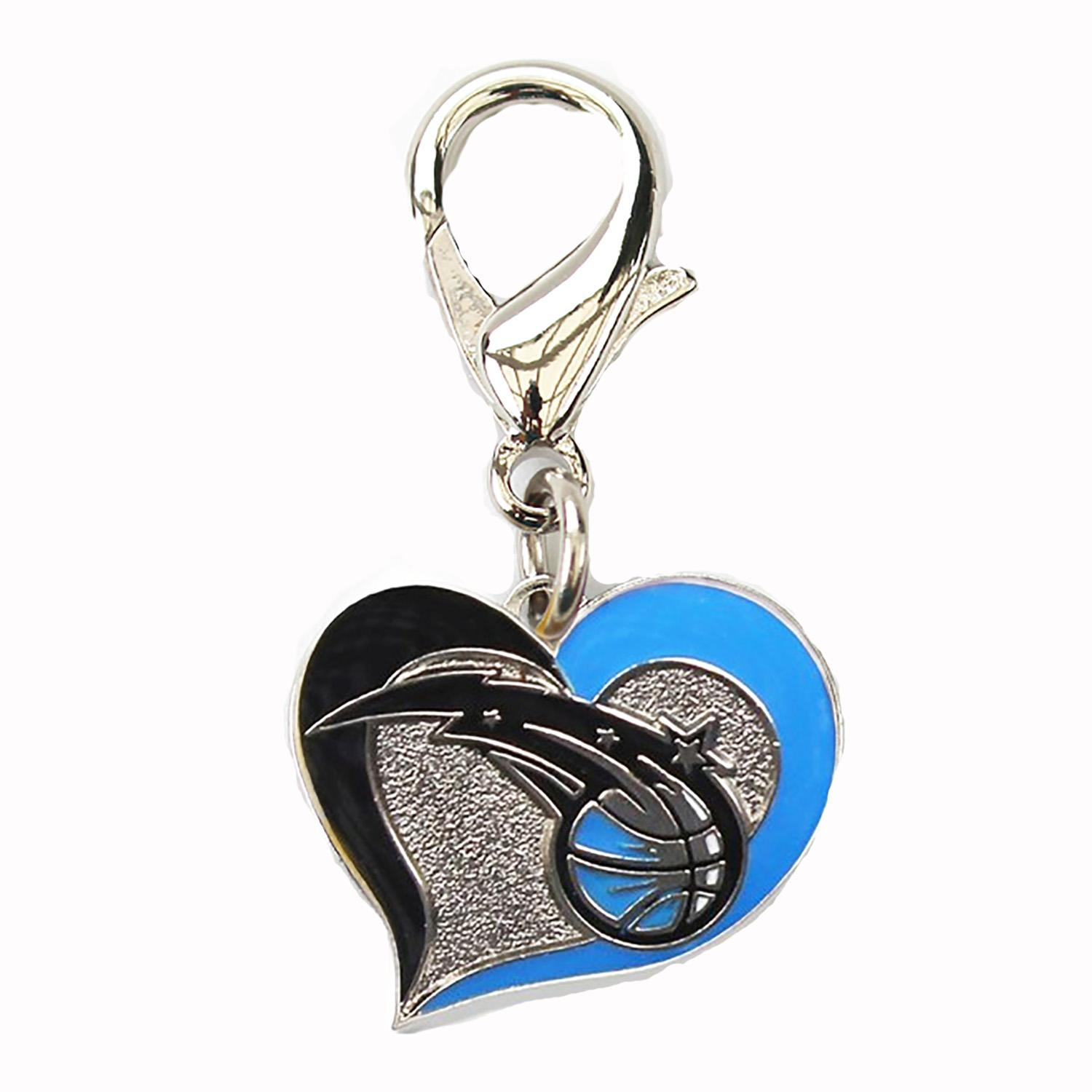 Orlando Magic Swirl Heart Dog Collar Charm
