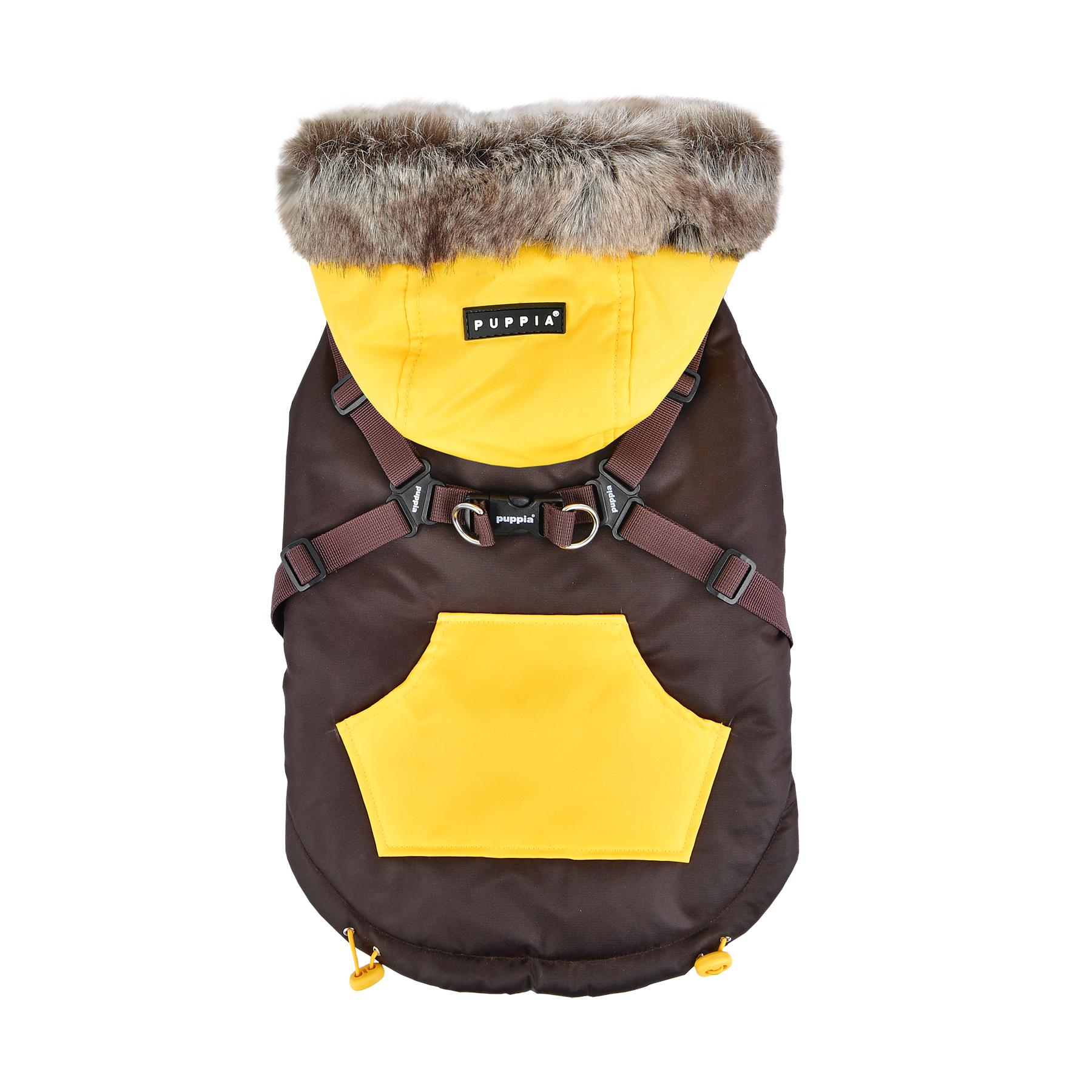 Orson Fleece Dog Vest By Puppia - Brown and Yellow