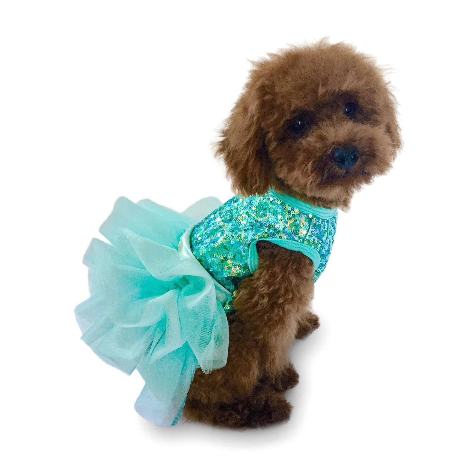 Over the Top Tricolor Sequin Fufu Tutu Dog Dress - Seafoam