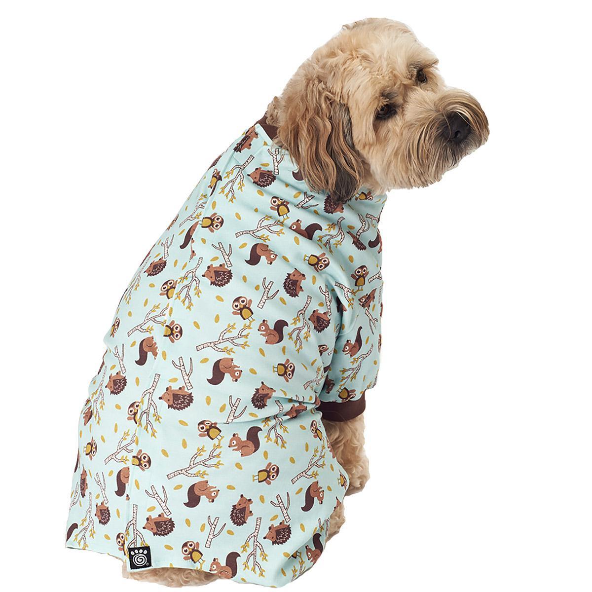 Owl, Squirrel, Hedgehog Dog Pajamas - Blue