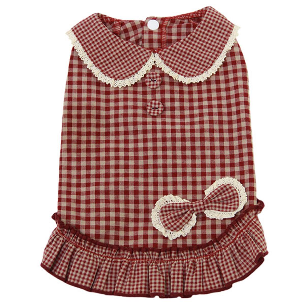 Dobaz Gingham Dog Dress - Red