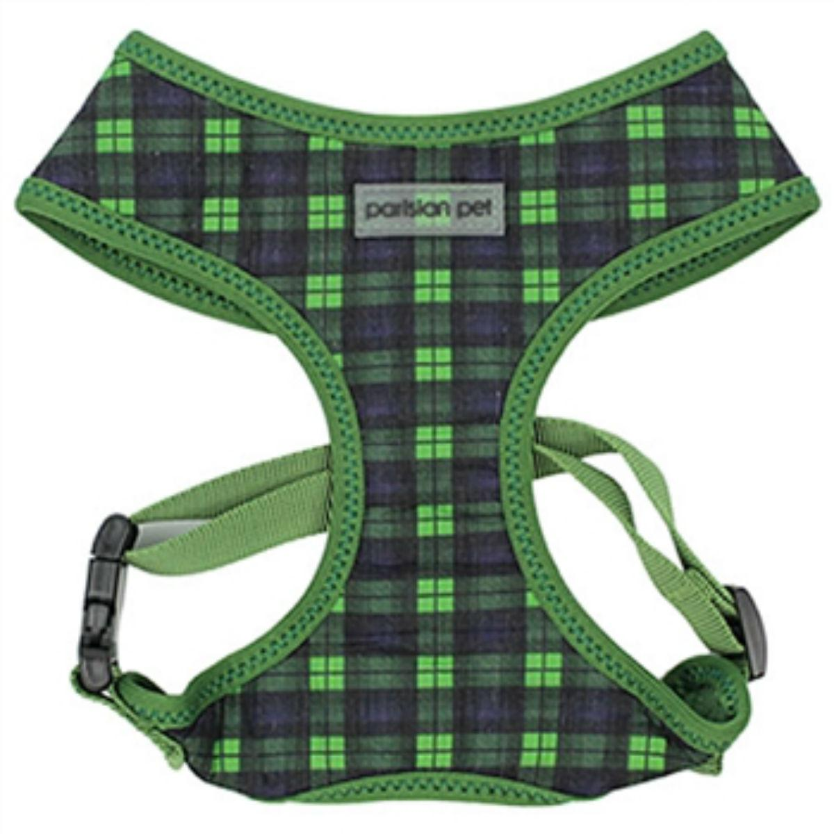 Parisian Pet Scottish Plaid Dog Harness - Green/Blue