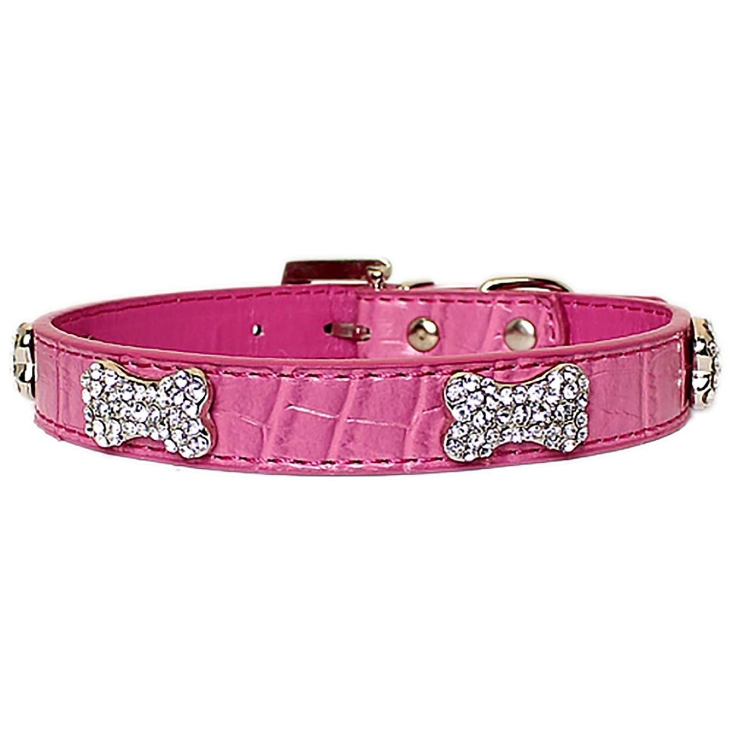 Parisian Pet Luxury Croc & Rhinestone Bones Dog Collar - Pink