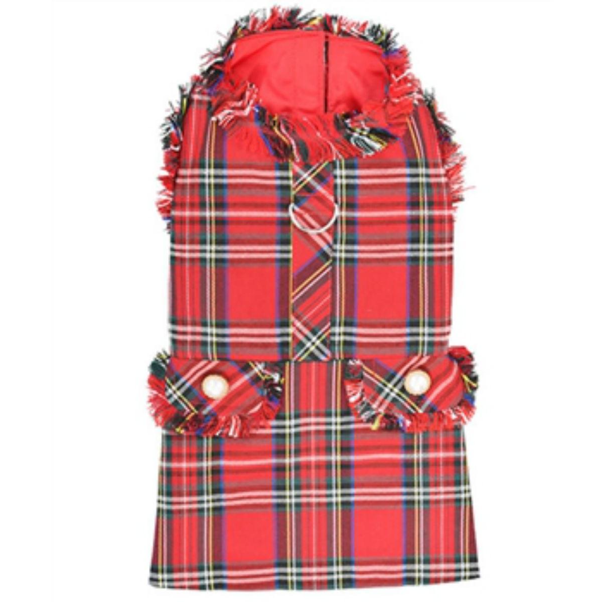 Parisian Pet Red Tartan Fringe Dog Dress