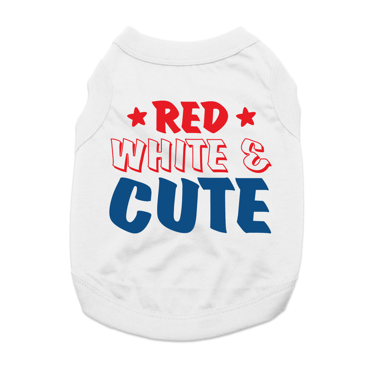 Red, White & Cute Dog Shirt - White
