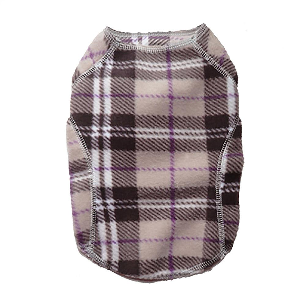 Cloak & Dawggie Stretch Fleece Dog Sweater - Tan Plaid