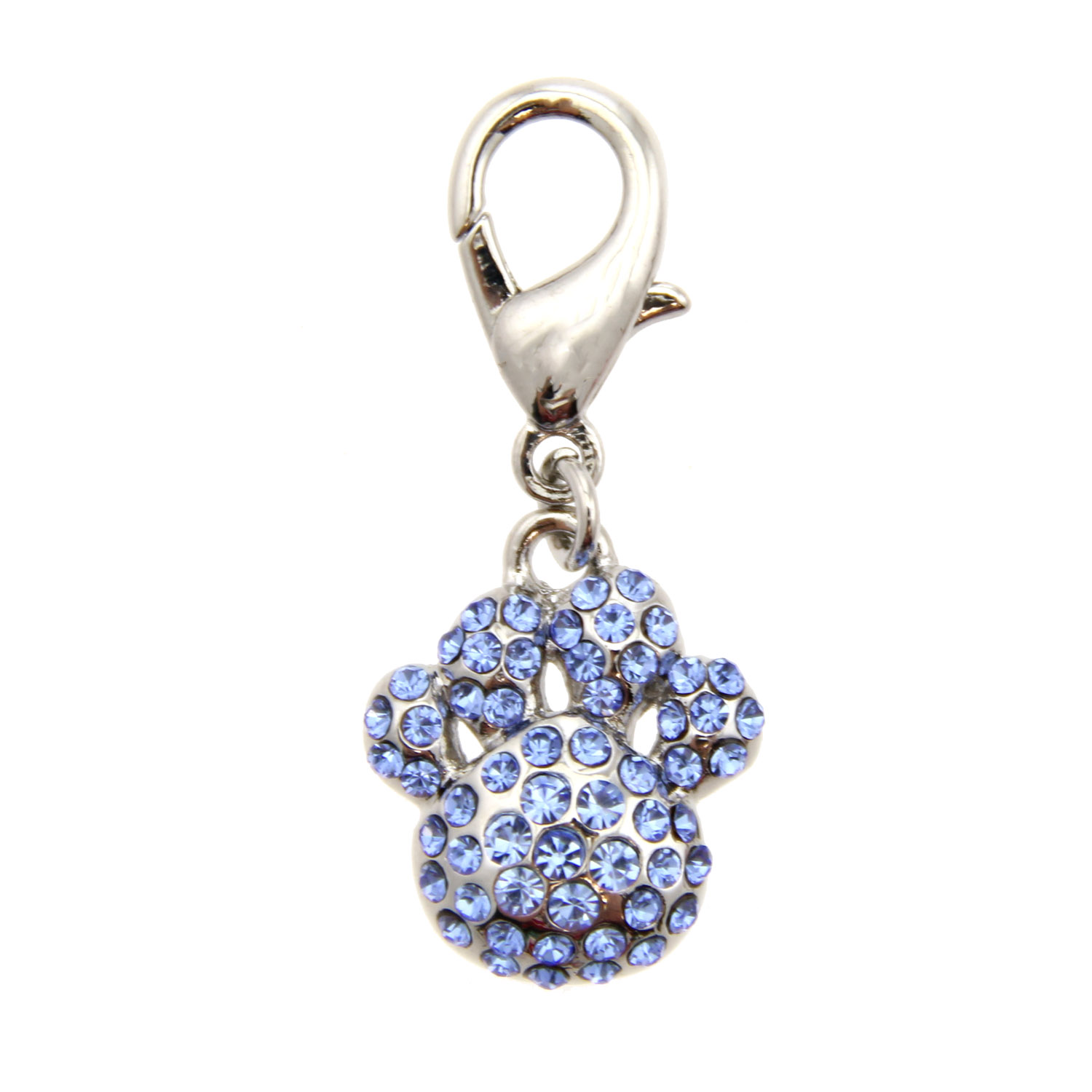 Pave Paw D-Ring Dog and Cat Collar Charm by foufou Dog - Blue