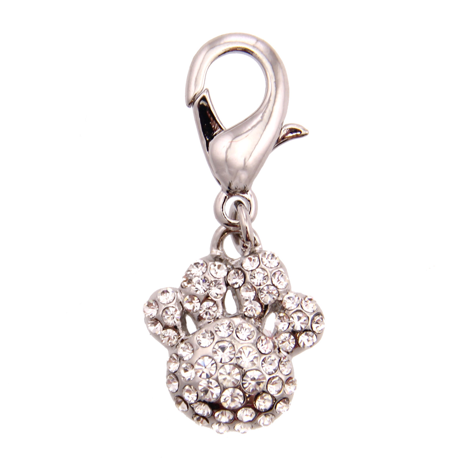 Pave Paw D-Ring Pet Collar Charm by foufou Dog - Clear