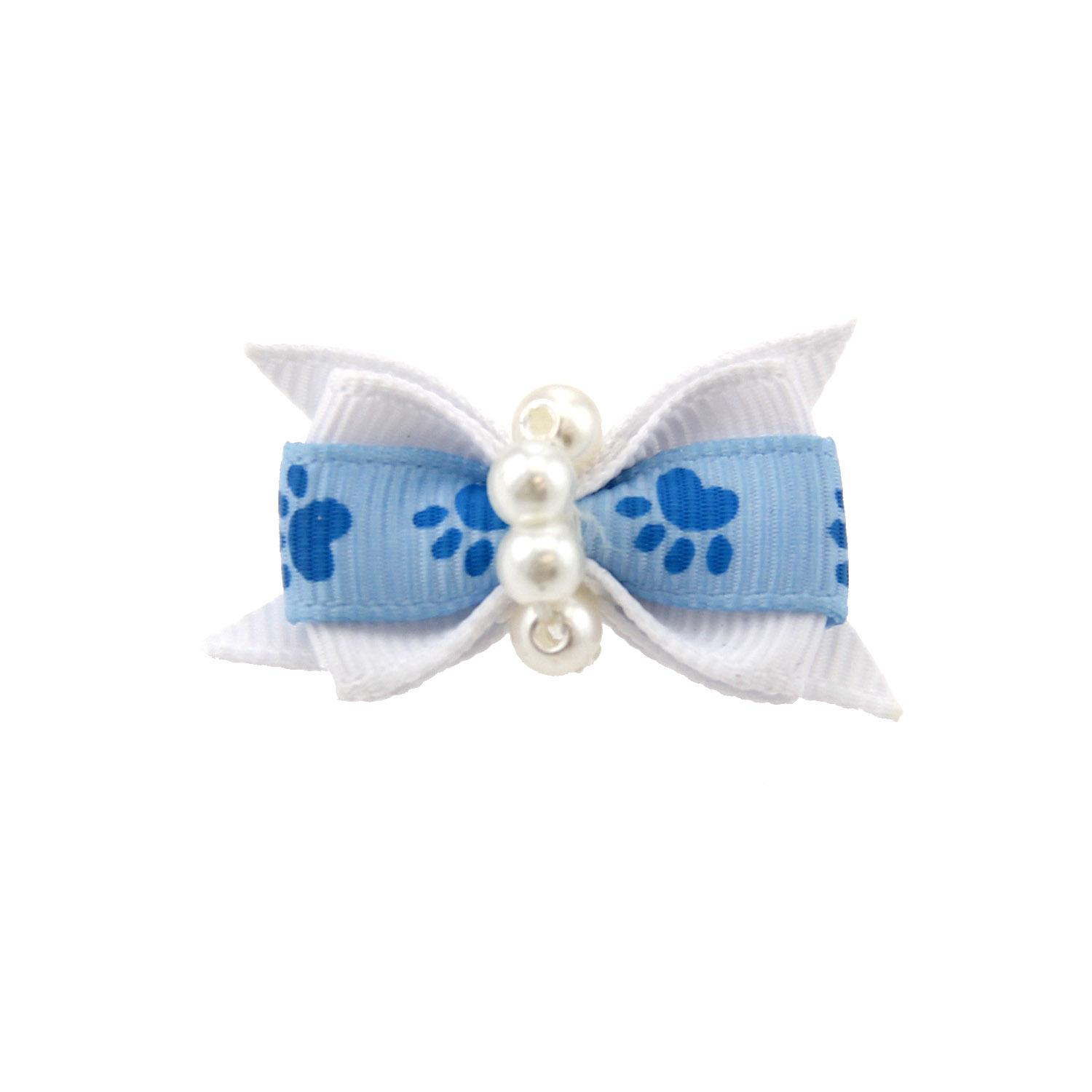 Paw Dog Bow with Alligator Clip - Blue Topaz