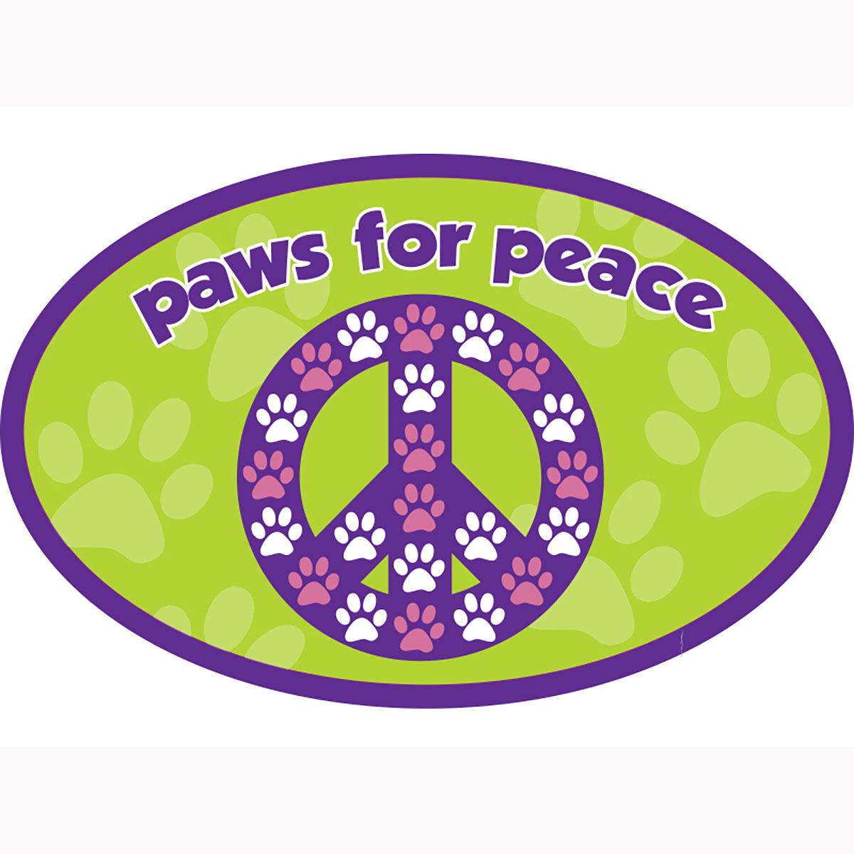 Paws For Peace Oval Magnet by Dog Speak