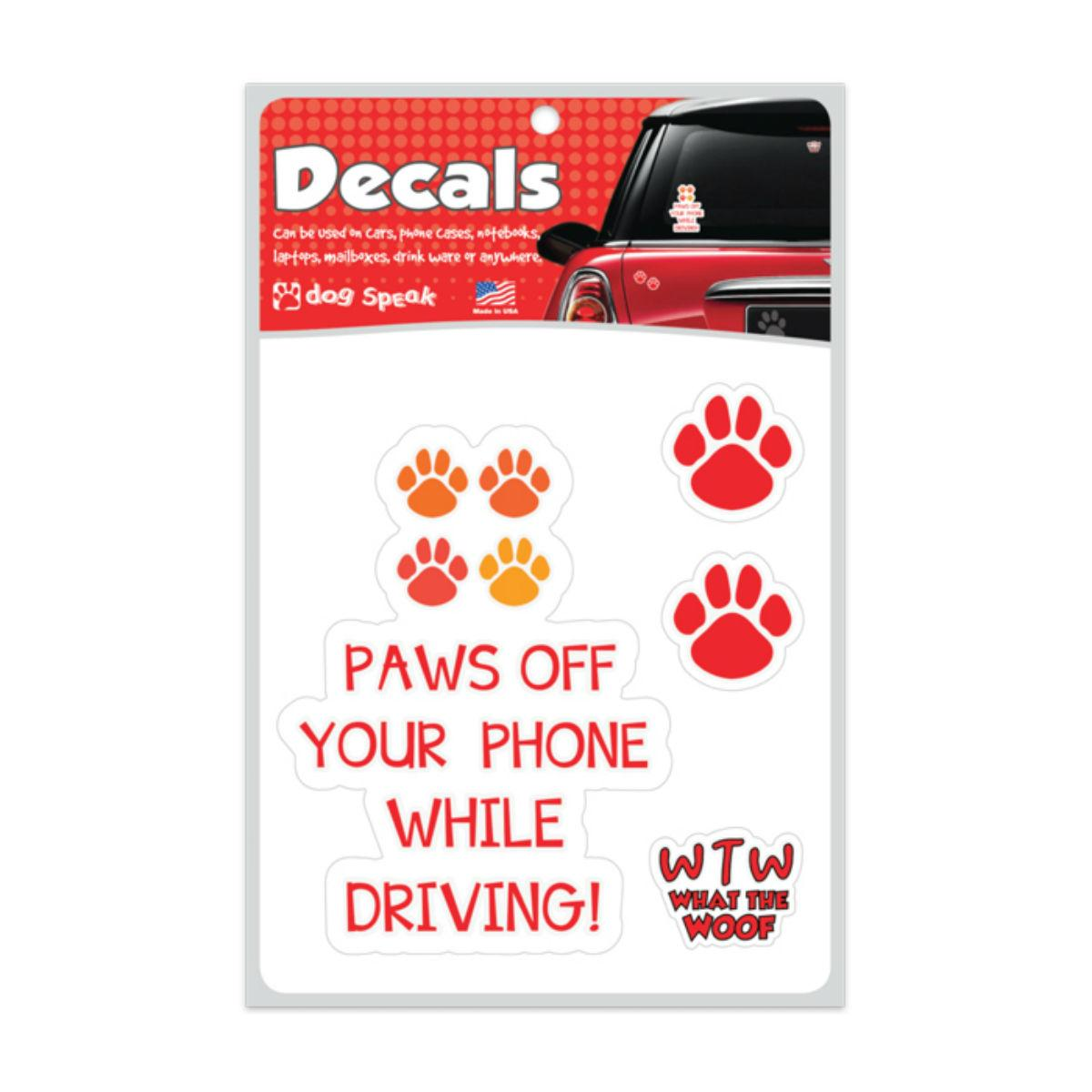 Paws Off Your Phone Car Window Decal by Dog Speak