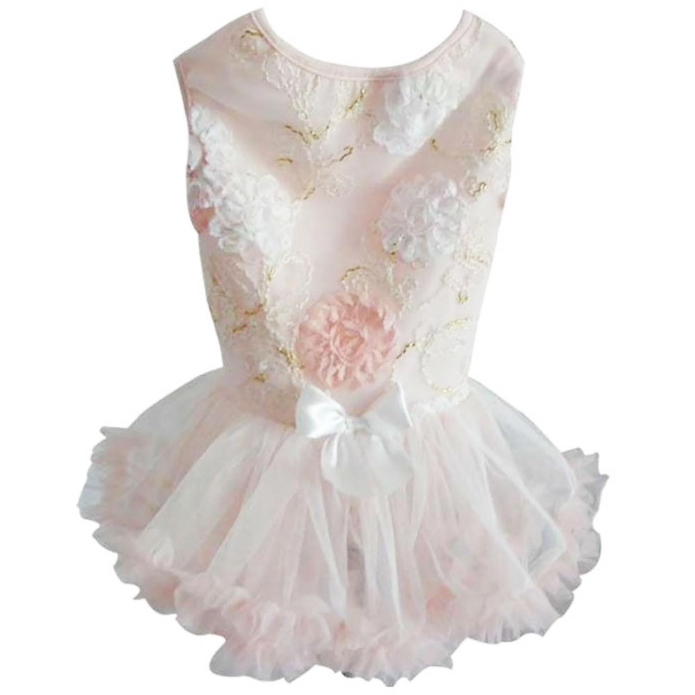 Peach Floral Dog Petti Dress By Pawpatu