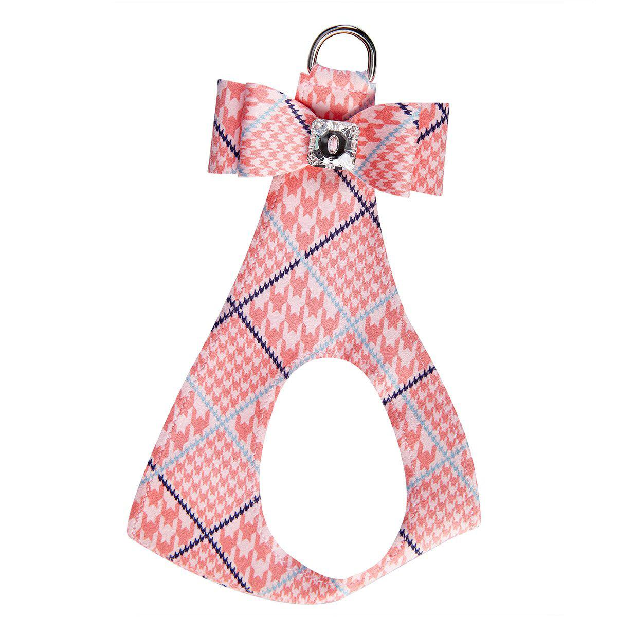 Peaches & Cream Glen Houndstooth Big Bow Step-In Dog Harness by Susan Lanci