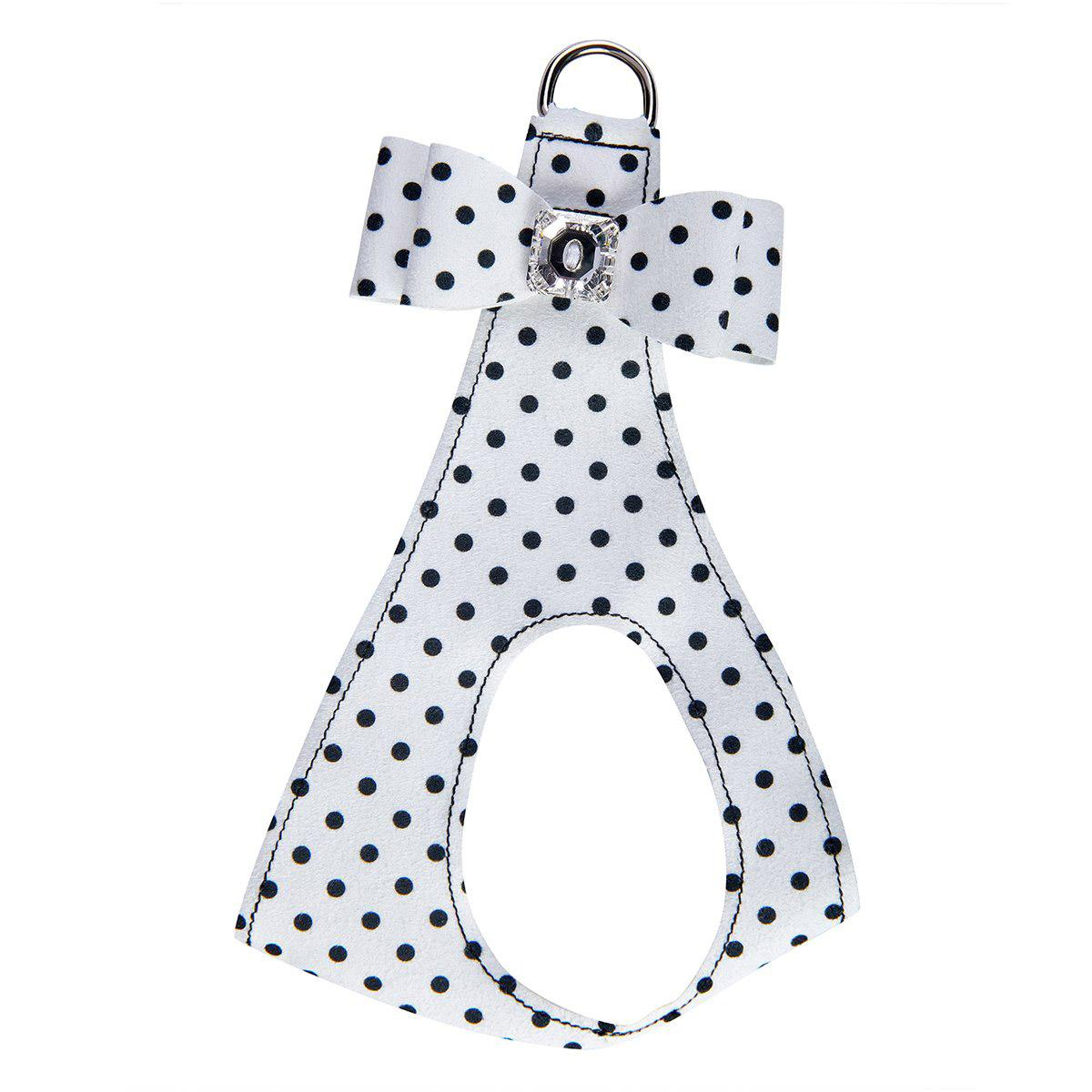 Polka Dot Big Bow Step-In Dog Harness by Susan Lanci - Black & White