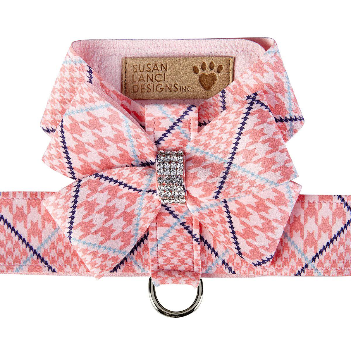 Peaches & Cream Glen Houndstooth Nouveau Bow Tinkie Dog Harness by Susan Lanci