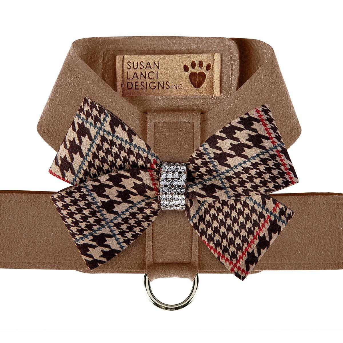 Chocolate Glen Houndstooth Nouveau Bow Tinkie Dog Harness by Susan Lanci - Fawn