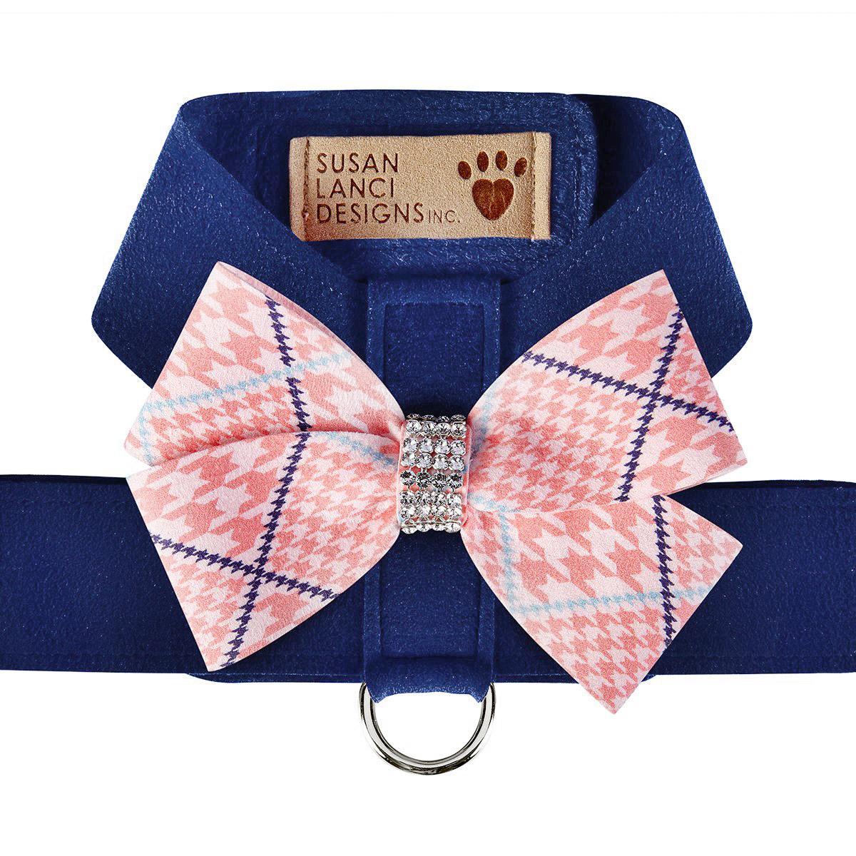Peaches & Cream Glen Houndstooth Nouveau Bow Tinkie Dog Harness by Susan Lanci - Indigo