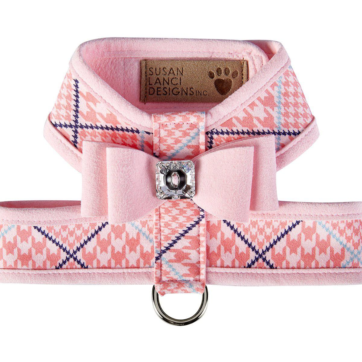 Peaches N' Cream Glen Houndstooth Tinkie Dog Harness with Big Bow and Trim by Susan Lanci - Puppy Pink