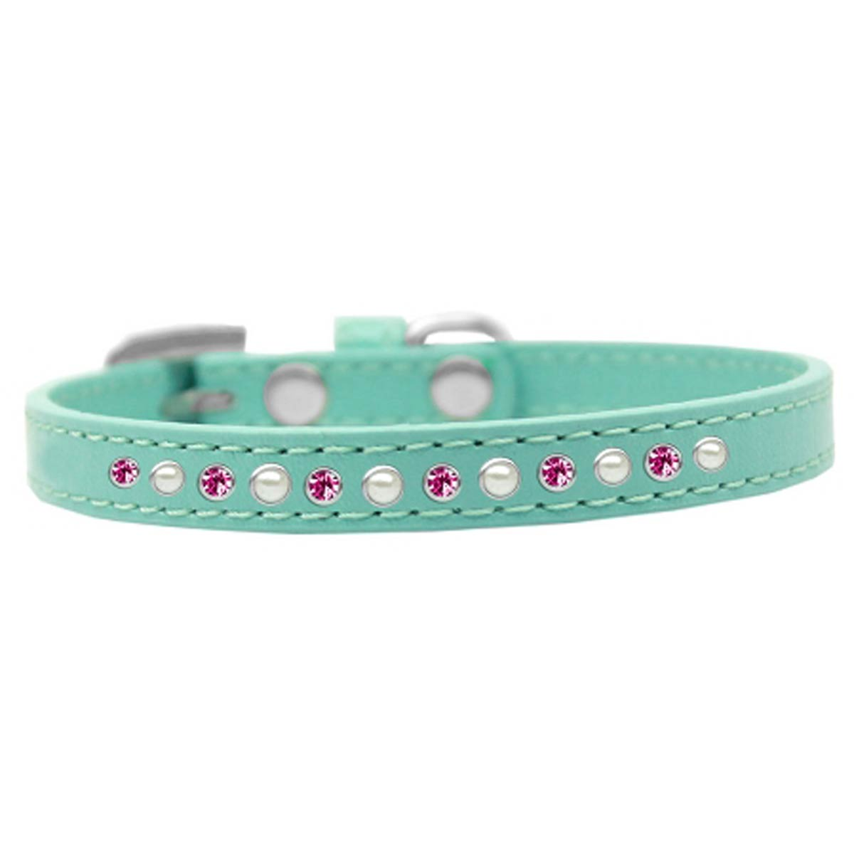 Pearl and Pink Crystal Aqua Dog Collar
