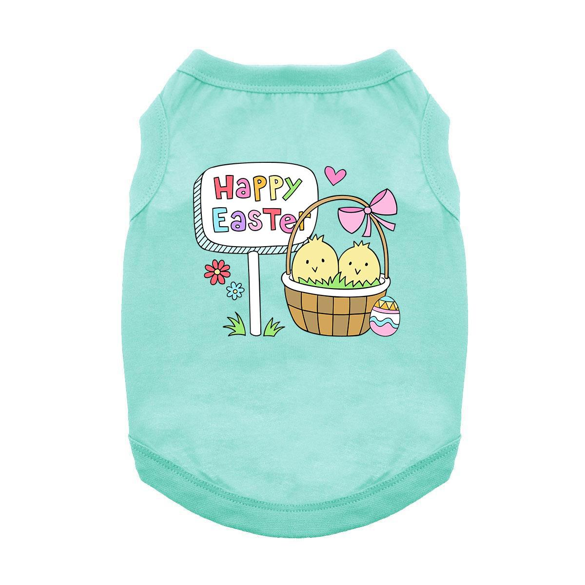 Easter Basket Chicks Dog Shirt - Aqua