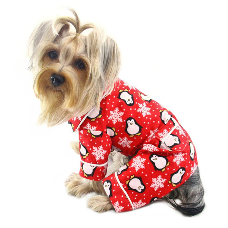 penguins and snowflakes flannel dog pajamas by klippo red