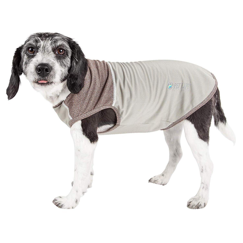 Pet Life ACTIVE 'Aero-Pawlse' Performance Dog Tank Top - Tan and Brown