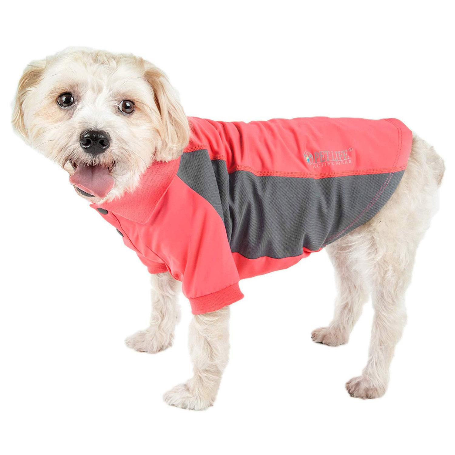 Pet Life ACTIVE 'Barko Pawlo' Performance Dog Polo - Salmon Red and Gray