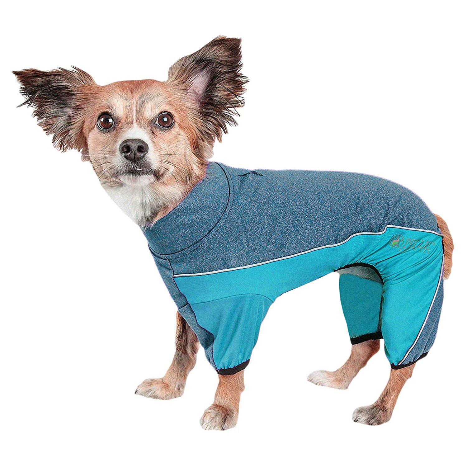 Pet Life ACTIVE 'Chase Pacer' Performance Full Body Dog Warm Up - Blue and Turquoise