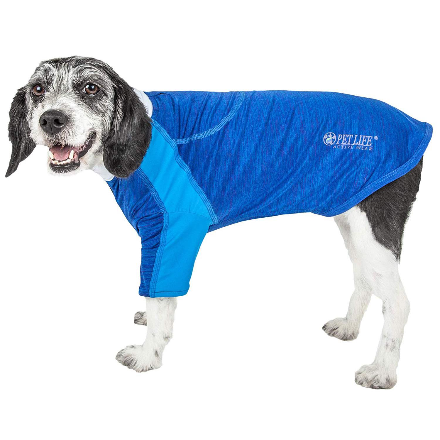 Pet Life ACTIVE 'Chewitt Wagassy' Performance Long Sleeve Dog T-Shirt - Blue