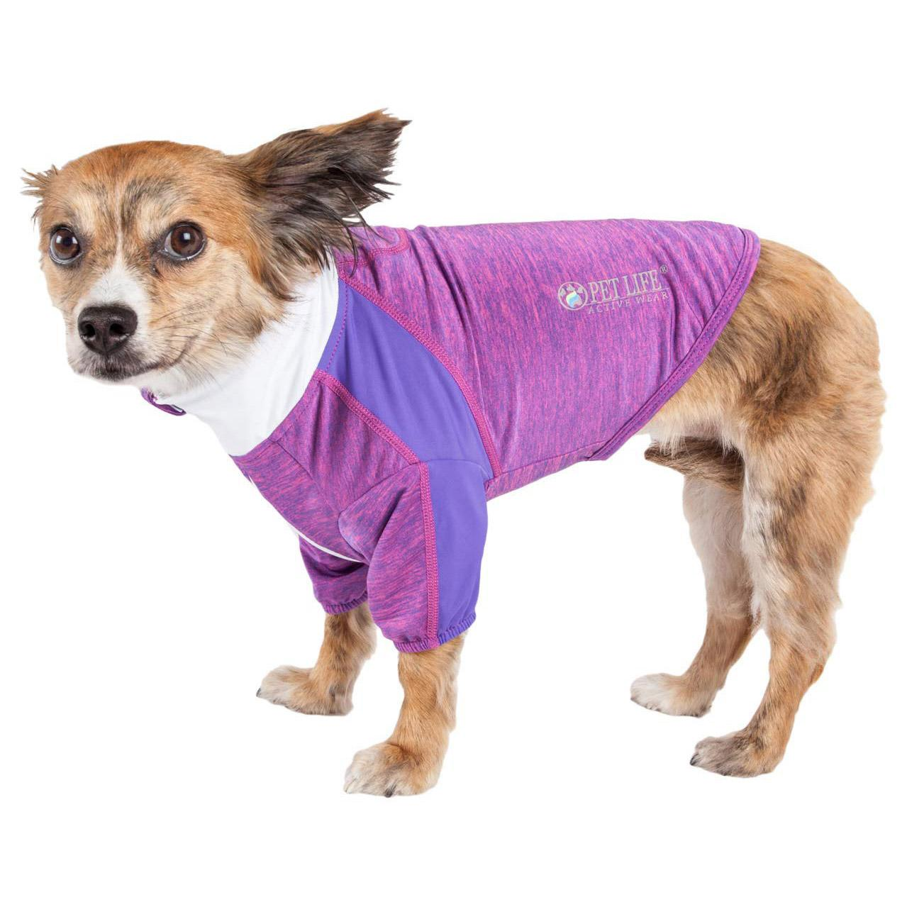 Pet Life ACTIVE 'Chewitt Wagassy' Performance Long Sleeve Dog T-Shirt- Lavender