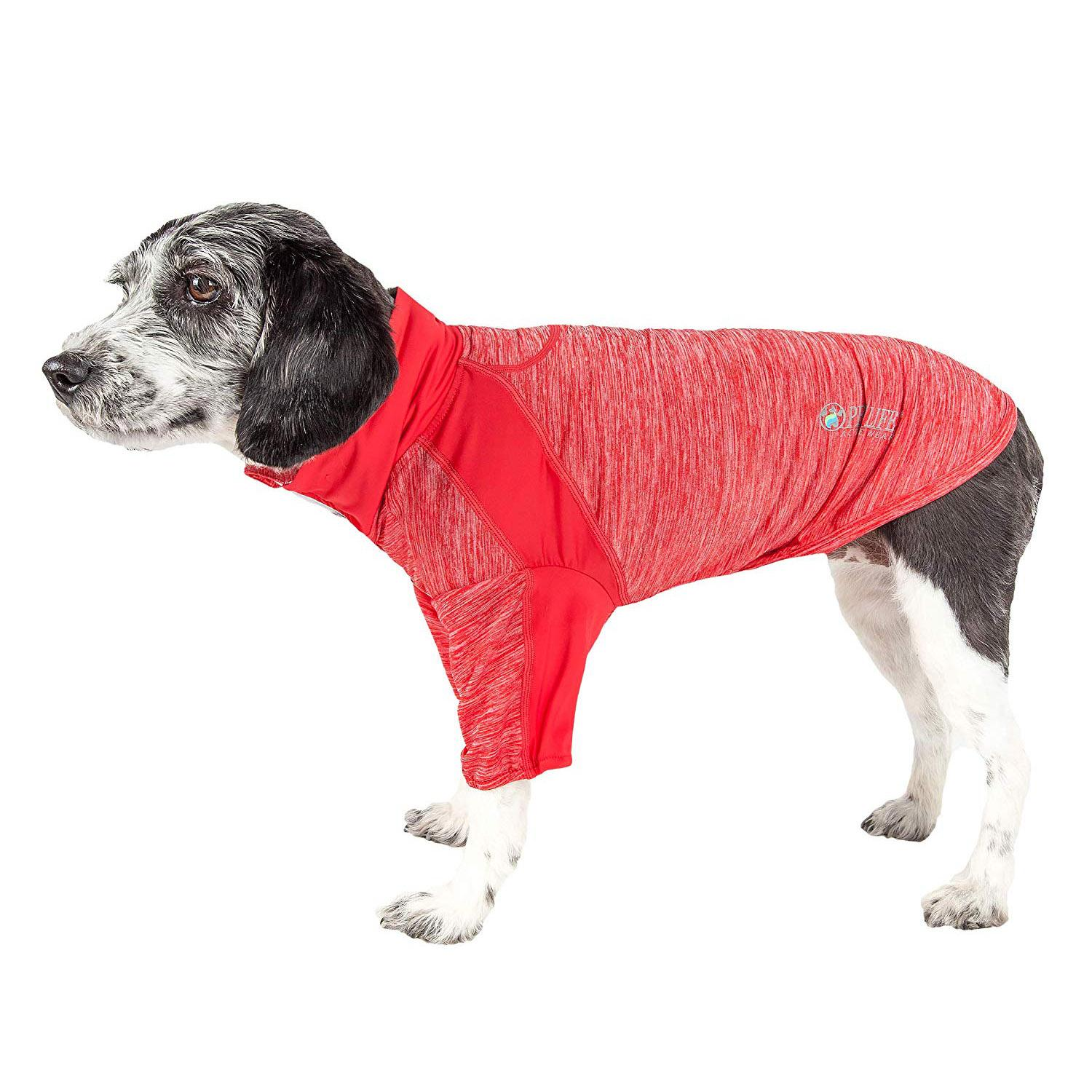 Pet Life ACTIVE 'Chewitt Wagassy' Performance Long Sleeve Dog T-Shirt- Red
