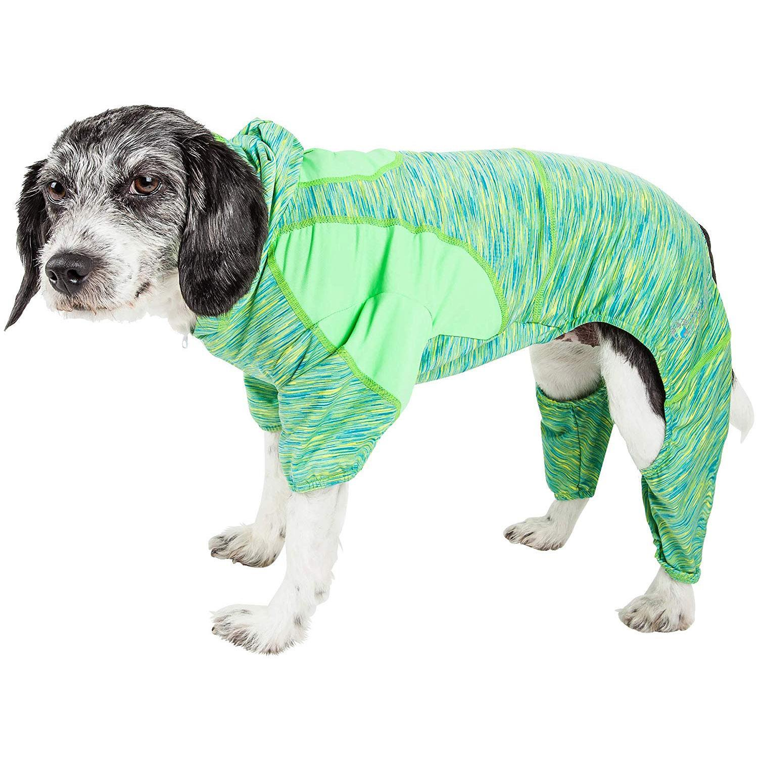 Pet Life ACTIVE 'Downward Dog' Performance Full Body Warm-Up Dog Hoodie - Green