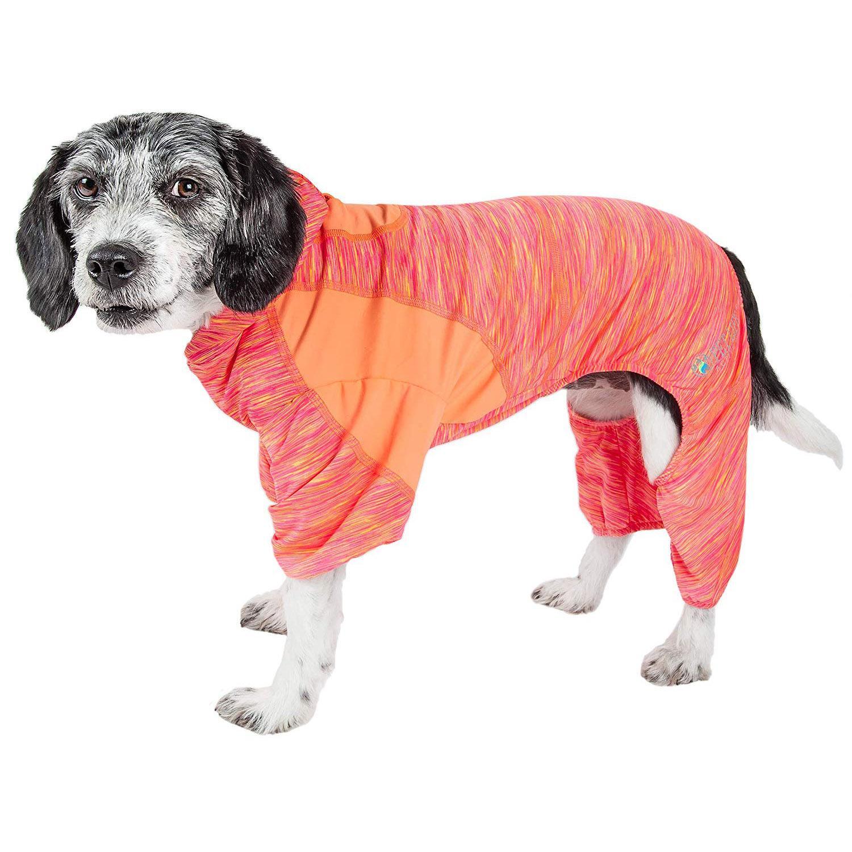 Pet Life ACTIVE 'Downward Dog' Performance Full Body Warm-Up Dog Hoodie - Orange
