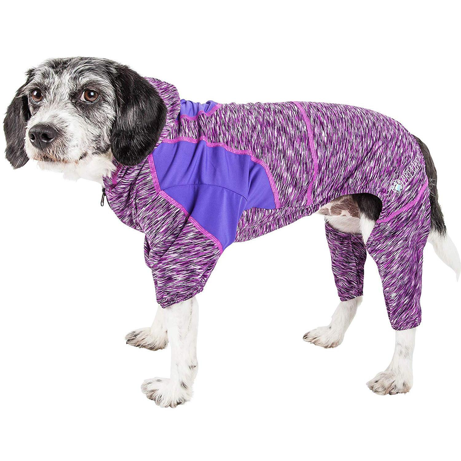 Pet Life ACTIVE 'Downward Dog' Performance Full Body Warm-Up Dog Hoodie - Purple