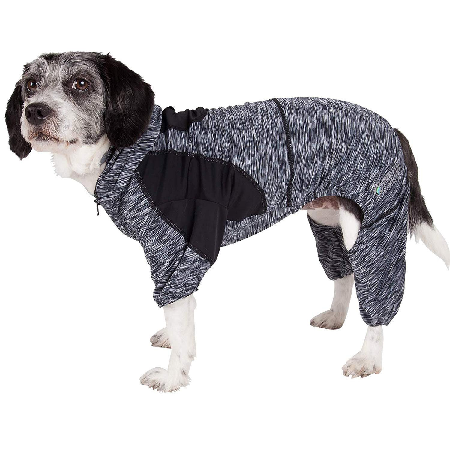 Pet Life ACTIVE 'Downward Dog' Performance Full Body Warm-Up Dog Hoodie - Black