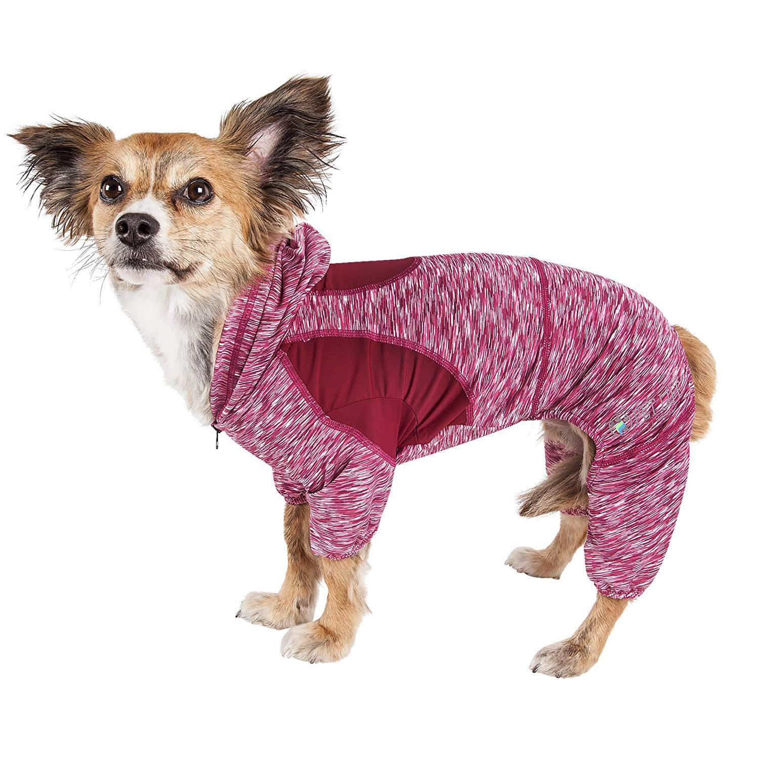 Pet Life ACTIVE 'Downward Dog' Performance Full Body Warm-Up Dog Hoodie - Burgundy