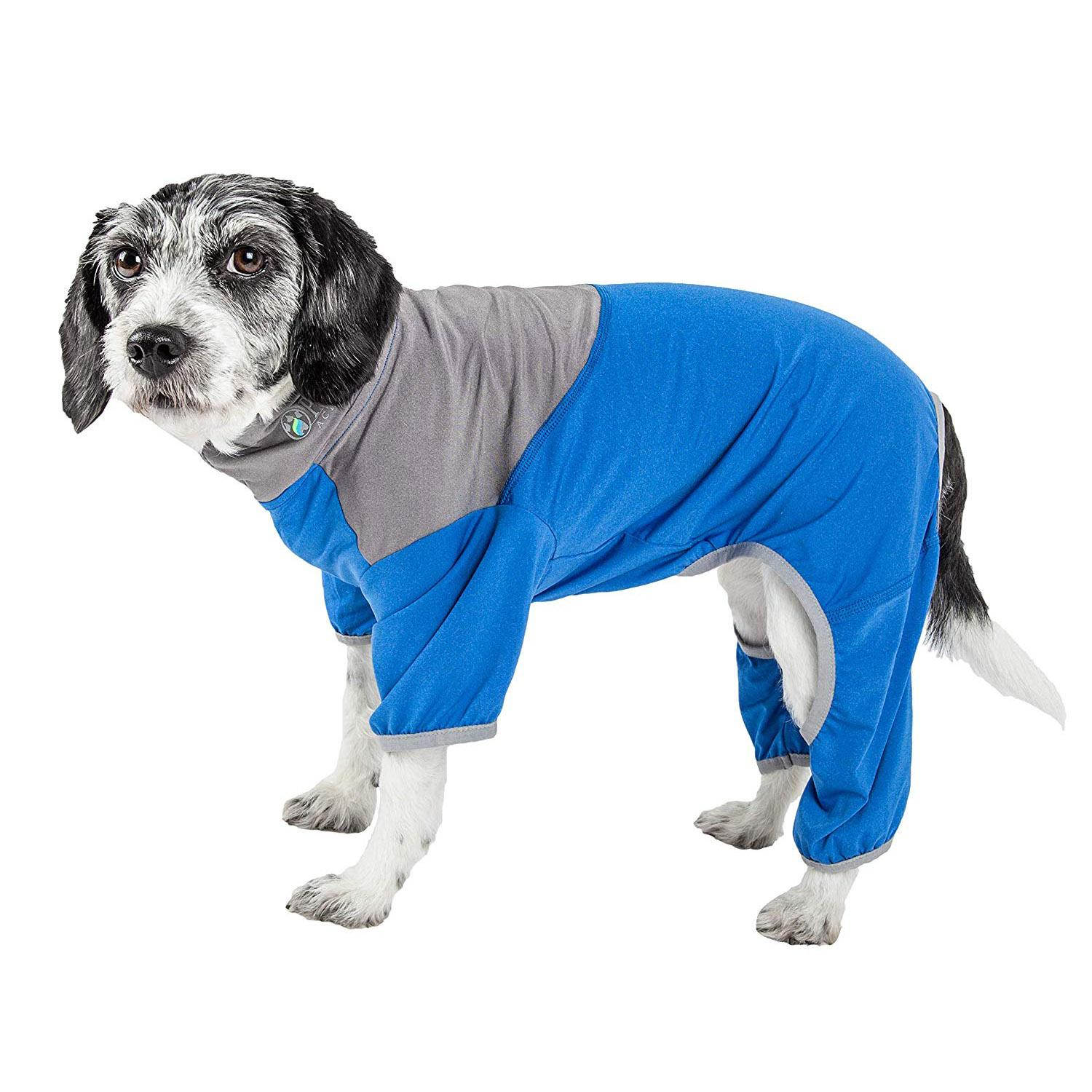 Pet Life ACTIVE 'Embarker' Performance Full-Body Dog Warm Up Suit - Blue and Grey