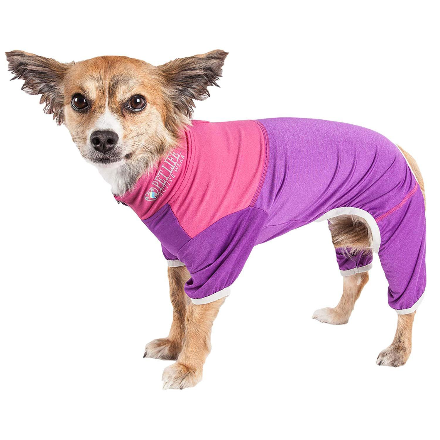 Pet Life ACTIVE 'Embarker' Performance Full-Body Dog Warm Up Suit - Lavender and Pink